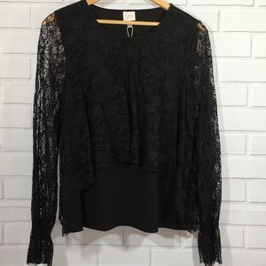 NWT Black Cupid Top with Lacy Sleeves & Front